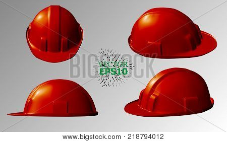 EPS10. A set of plastic helmets for security at construction sites. Easily change the color.