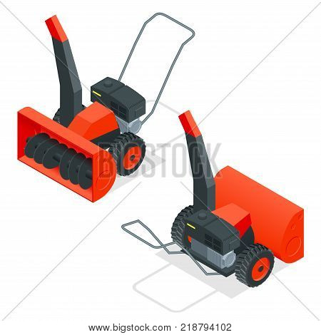 Isometric snow thrower. Cleans snow from sidewalks with snowblower. City after blizzard. Isometric vector illustration.