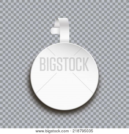 Wobbler mockup on transparent background. Blank white round paper sticker for price. Advertising circle plastic self-adhesive banner for market shelf. Vector illustration.