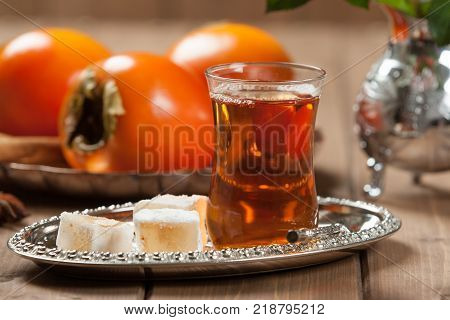 Turkish Delight. Hot Tea. Persimmon. Silver Dish poster