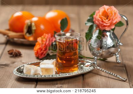 Turkish Delight. Hot Tea. Persimmon. Rose. Silver Dish poster