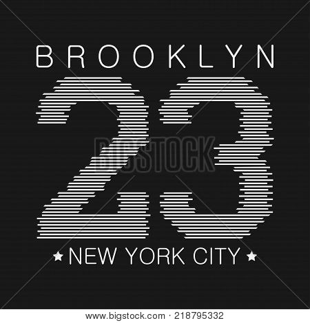 New York typography graphics. Brooklyn print for number t-shirt, design of athletic clothes. Stamp for sport original apparel. Vector illustration.