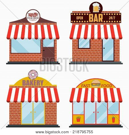 Building facade with signboard set - Steakhouse and Grill Meat Restaurant, Beer Bar, Bakery shop, Fast Food. Vector illustration in flat style.