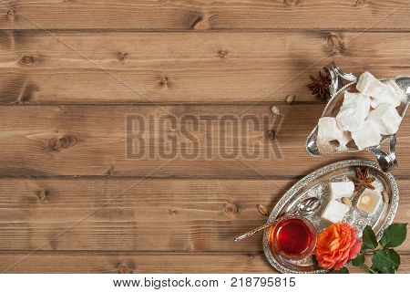 Turkish Delight. Hot Tea. Rose. Silver Dish poster