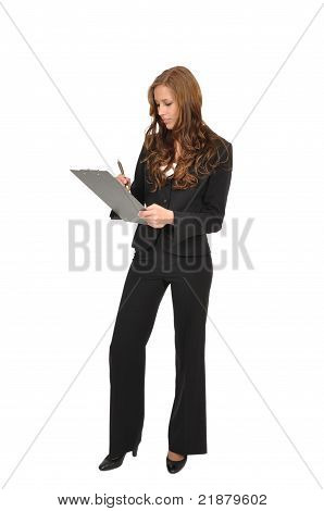 Young Woman With A Clipboard Wrote