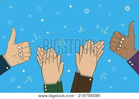 Hands clapping, applause and thumb up gesture - bravo. Congratulations concept illustration. Vector in cartoon style.
