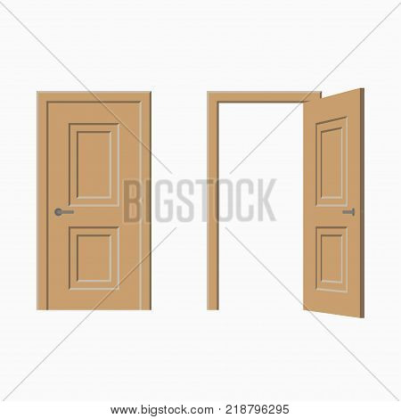 Doors set - closed and open. Vector illustration.