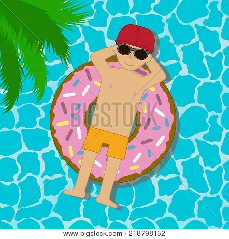 Young man floating on an inflatable circle in a swimming pool or sea or ocean. Boy in sunglasses and cap swimming in swim ring in donut form. Vector illustration.