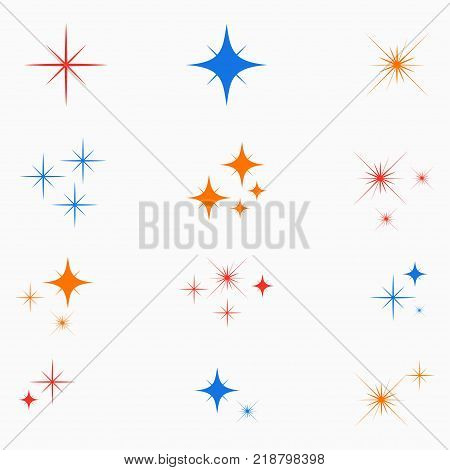 Sparkle stars. Set of color glowing light effect sign. Flashes starburst icon. Vector illustration.