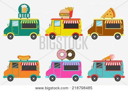 Fast Food trucks. Set of street shops on van - Beer, Donut, Burger and French fries, Hot Dog, Ice Cream, Pizza. Vector illustration in flat style.