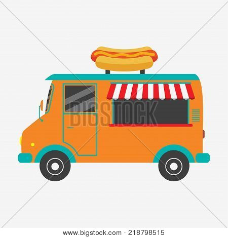 Hot dog truck. Fast food van with signboard in form of tasty hot-dog. Vector illustration in flat style.