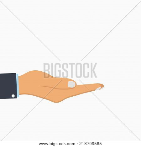 Open hand. Empty human palm. Vector illustration.