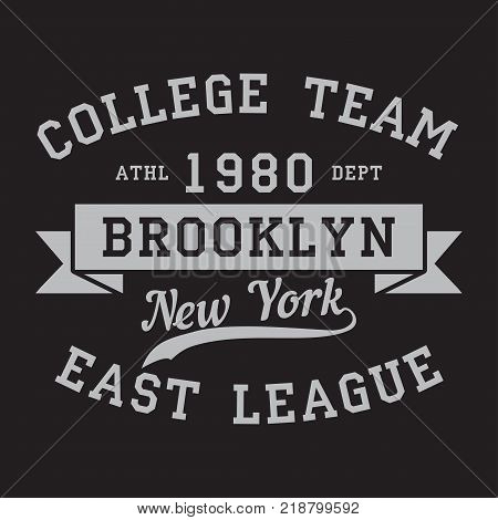 New York, Brooklyn - print logo. Graphic design for t-shirt, sport apparel. Typography for clothes. College team, east league. Vector illustration