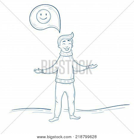 Man stands and thinks positive. Smile happy thought about something. Cute male in hand drawn illustration style