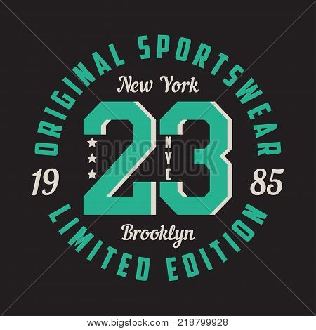 New York, Brooklyn - graphic design for t-shirt, sport apparel. Typography for clothes. Original sportswear, limited edition print. Vector illustration.