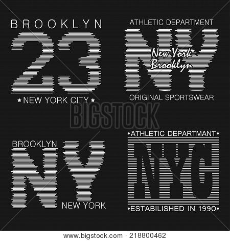 New York typography graphics set. Brooklyn print for t-shirt, design of athletic clothes. Stamp for sport original apparel. Vector illustration.