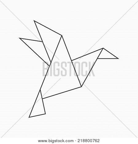 Origami Bird Geometric Line Shape For Art Of Folded Paper Vector Illustration