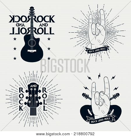 Rock-n-roll prints for t-shirt. Set of graphic design for clothes, t-shirt, apparel with guitar, lightning, ribbon, sunburst and rock music hand gesture. Vector illustration.