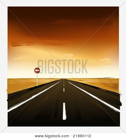 vector landscape with the ground, air and a stop sign