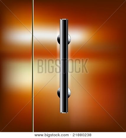 Vector transparent glass door with the handle