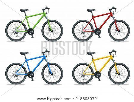 Mountain Bike or Urban Bike isolated on white background vector illustration.