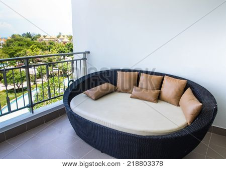 Waterproof Outdoor Daybed At The Balcony