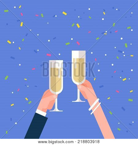 Male And Female Hands Holding Champagne Glasses Cheering Holiday Celebration Concept Flat Vector Illustration