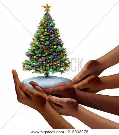 Diverse people christmas holiday as a group of hands representing ethnic diversity together holding a holiday decorated tree as a festive new year symbol with 3D illustration elements.