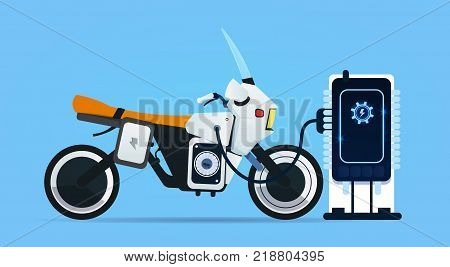 Hybrid Motor Bike Charging At Electric Charge Station Modern Motorcycle Concept Flat Vector Illustration