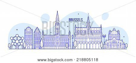 Brussels skyline, Belgium. This vector illustration represents the city with its most notable buildings. Vector is fully editable, every object is holistic and movable