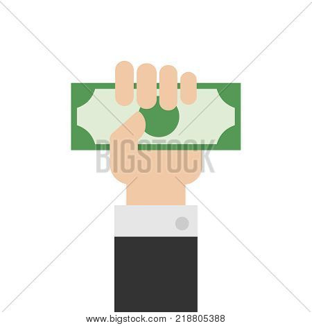 Hand holding money or money in hand vector illustration. Hand with money or hand giving money in flat style. eps10