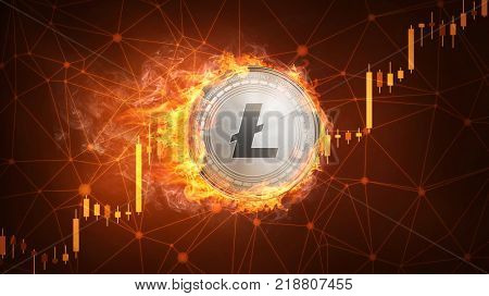 Golden ethereum coin in fire with bull trading stock chart. Ethereum blockchain token grows in price on stock market concept. Cryptocurrency coin on polygon peer to peer network background.