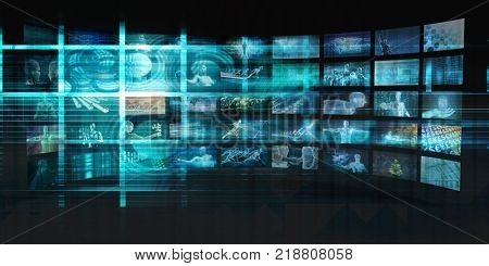 Digital Entertainment and Streaming Broadcast Technology Art 3D Render