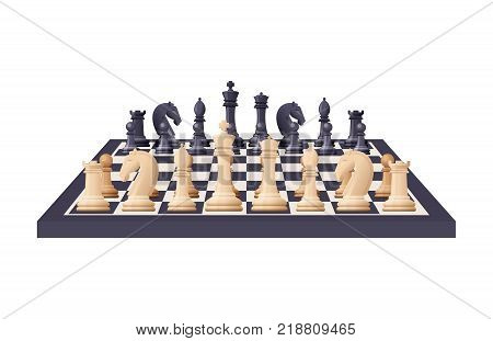 Black and white chess game pieces, figures on chess board. Logical tactical turn-based game, chess tournament, sport game, hobby and interests, highly intellectual occupation. Vector illustration.