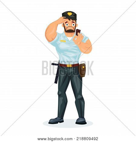 Policeman working cartoon character person in working situations. Policeman, in form, with with working equipment: baton, pistol, handcuffs, walkie-talkie, showing sign ok. Vector illustration.