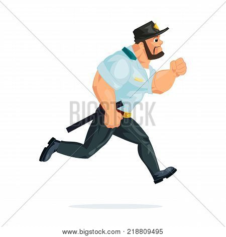 Policeman working cartoon character person in working situations. Policeman, in working clothes, in form, run, is in pursuit of criminals and offenders, delinquents, is on task. Vector illustration.