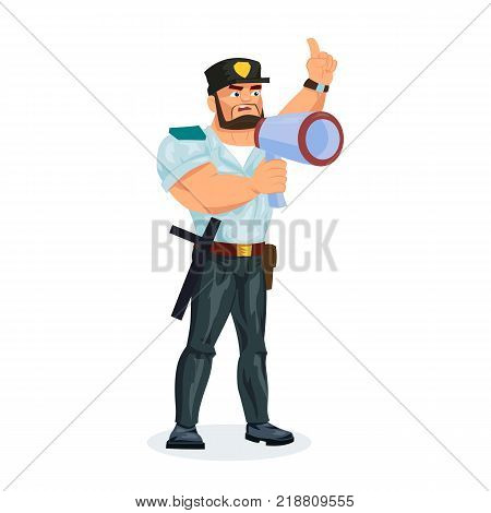 Policeman working cartoon character person in working situations. Policeman, in working clothes, communicates data by radio, loudspeaker, megaphone, transmits information. Vector illustration.