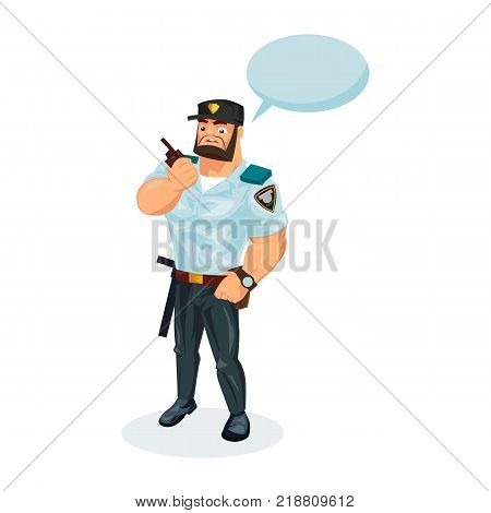 Policeman working cartoon character person in working situations. Policeman, in working clothes, with working equipment, communicates data by radio, phone, transmits information. Vector illustration.