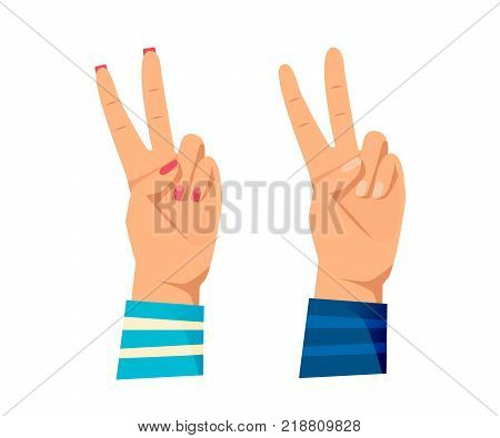 Men's and women s hands with gestures. Human hand, action and sign are all right, good, peace, world. Concept of complete control, success, good standing. Signals man, woman. Vector illustration