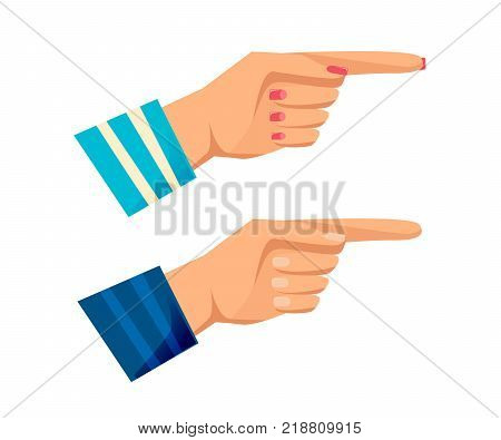 Men's and women s hands with gestures. Concept gestures and signals: sign of pointer, direction, attention, thinking, warning, greeting, clever idea. Signals man's, woman s hands. Vector illustration