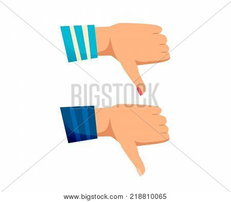 Men's and women s hands with gestures. Signals man, woman hands rejection of a decision, disagreement, gesture thumb down. Vector illustration isolated.