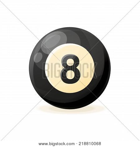 Billiard ball, sports game, realistic ball for pool, snooker. Professional sport, hobby. Vector illustration isolated