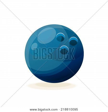 Blue beautiful realistic bowling ball. A modern sport, hobbies, hobbies, family activities and hiking with friends. Vector illustration isolated.