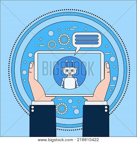 Hands Holding Tablet Computer Chatting With Chatbot, Modern Chatter Technology Tech Support Service Online Concept Vector Illustration