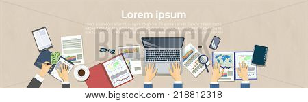 Workplace Top Angle View Concept Business People Hand At Office Desk Working At Laptop Computer Document Folders Horizontal Banner With Copy Space Flat Vector Illustration