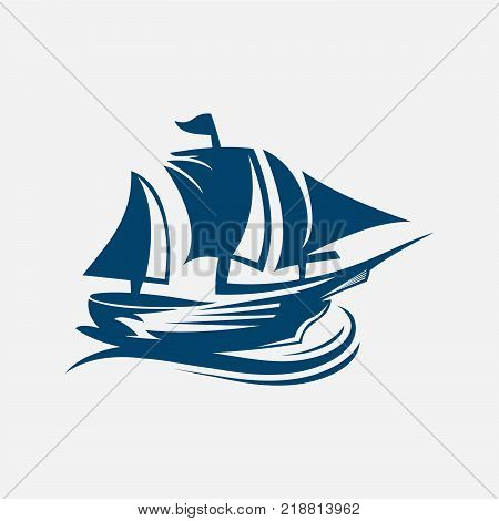 Sailing ship, sailboat, Old sailing vessel under full sails and flags on masts silhouettes for sailing sport, ocean cruise, marine trip, regatta design,eps 8,eps 10