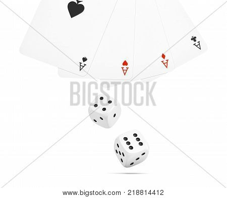 3d rendering of two white dice with four different ace playing cards isolated on a white background. Gambling and betting. Throw dice. Casino accessories.