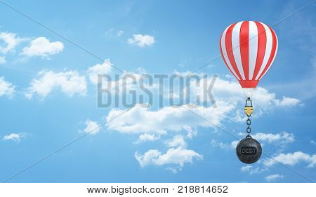 3d rendering of a striped hot air balloon flies in the sky weighted down by a wrecking ball with a word Debt written on it. Weight of credit. Financial burden. Travelling expenses.