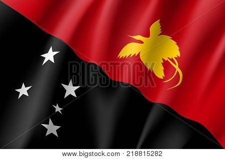 Flag Papua New Guinea national flag. Patriotic symbol in official country colors. Illustration of Oceania state flag. Vector relistic icon