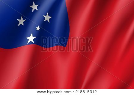 Samoa national flag. Patriotic symbol in official country colors. Illustration of Oceania state flag. Vector relistic icon